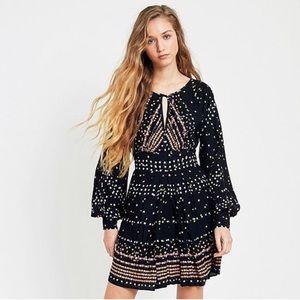 Free People Coryn Black Boho Pleated Mini Dress